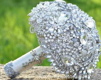 White silver wedding brooch bouquet, Crystal bouquet, Jewelry bouquet, Wedding bouquet, Bridal bouquet, Rhinestone bouquet, Broach Bouquet.