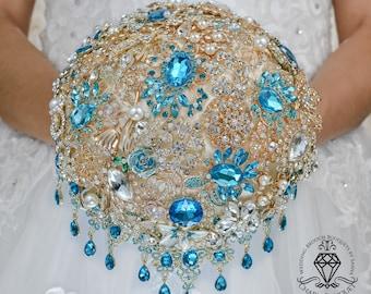 Brooch bouquet, Jeweled bouquet, Cascading bouquet, Turquoise bouquet, Bridal bouquet, Crystal bouquet, Wedding bouquet, Bridesmaid bouquet