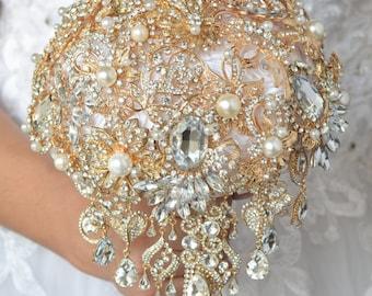 Gold wedding, Brooch bouquet, Crystal bouquet, Rhinestone bouquet, Jewellery bouquet, Bridal bouquet, Wedding Bouquet, Flowers wedding