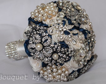 Royal Blue Bouquet Silver Bouquet Navy Blue Bouquet Brooch Etsy
