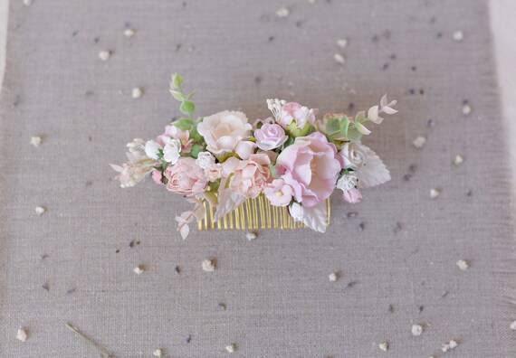Blush Pink Bridal Hair Comb Wedding Hair Piece Flower Hair Etsy