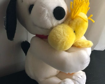 Vintage Snoopy Hugging Woodstock Plush Toy, 1970's Snoopy, Applause, United Feature Syndicate, Inc.
