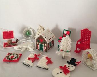 12 Vintage Cross Stitch Ornaments, Vintage Ornaments, Vintage Christmas Decor