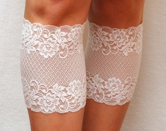 girlfriend gift for her white lace cuffs womens lace boot cuffs lace boot socks Stretch Lace Boot toppers Wide Boot cover lace leg warmers