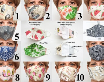 Non Medical Cloth Mask Middle size Fitted Face Mask with Nose wire Reusable Linen Cotton Adults Mask Kids Mask Butterfly Washable Reversible