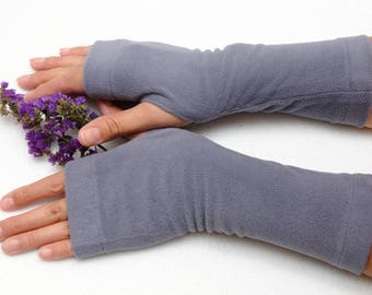Inspirational womens gift wanderlust Fingerless gloves girlfriend gift Wrist warmers Jersey Tattoo cover gray fingerless mitts Hand Warmers