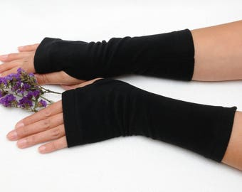Fleece Fingerless gloves Black Fingerless Mittens Arm Warmers Texting gloves Fall gloves casual clothing Winter gift for Wife gift for her