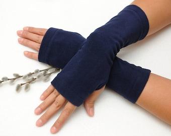 Beauty gift wanderlust gift for Wife Birthday gift for her Dark Blue Fingerless gloves Fabric gloves Fingerless Mittens Mitts Hand warmers