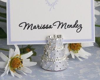 4 Silver Wedding Cake Place Card Holder, Escort Card Holder Set of 4, Wedding Table Decor