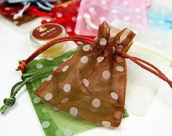 12 Polka Dot Organza Bags, 3 x 4 Organza Drawstring Bag, Sheer Gift Bag,Treat Bag, Candy Bag, Birthday Party Gift Bag,Bridal Shower Gift Bag
