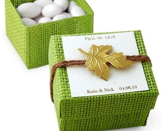 Fall Favor Box, Wedding Favor Box, 12 Natural Woven Favor Boxes With Lids, Square Favor Box, Candy Favor Box, Treat Box, Green Favor Box