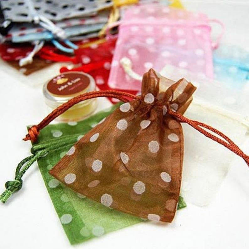 12 Polka Dot Organza Bags 3 x 4 Organza Drawstring Bag Sheer image 0