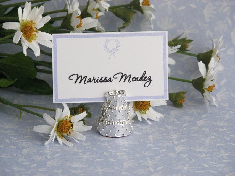 4 Silver Wedding Cake Place Card Holder Escort Card Holder image 0