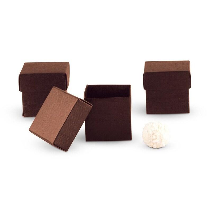 Brown Favor Box 10 boxes Wedding Favor Boxes Square Favor image 0