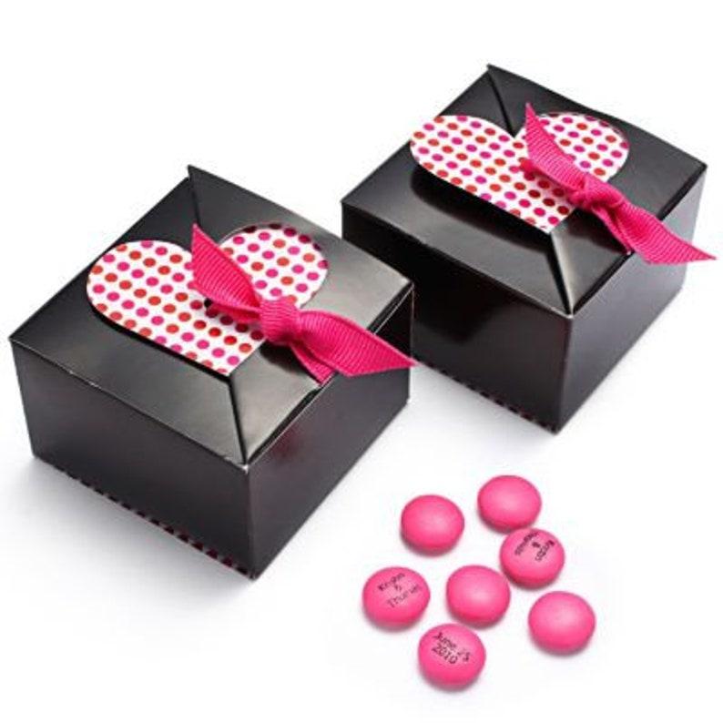 25 Heart Treat Box Wedding Favor Box Heart Shape Candy Box brown-fuchsia ribbon