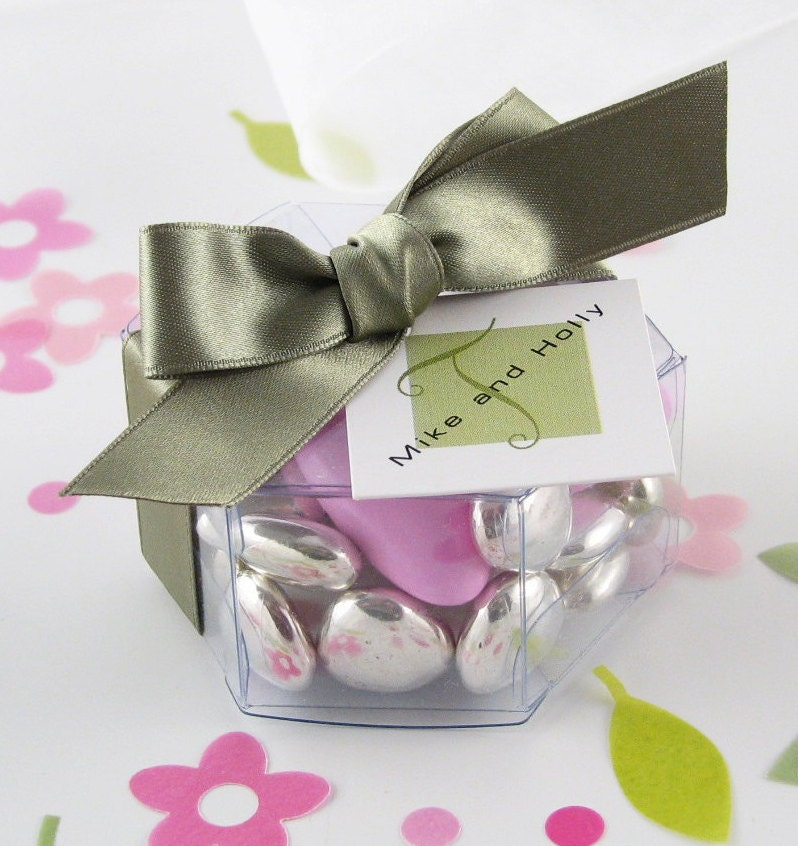 12 Clear Favor Boxes Hexagon Clear Favor Boxes Wedding Etsy