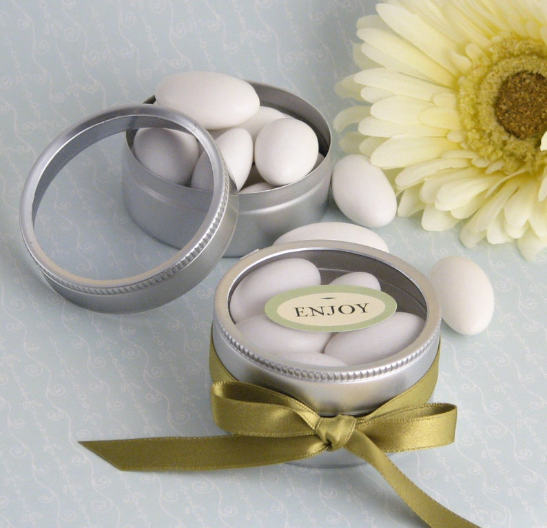 10 Clear Top Favor Tins Clear Favor Boxes Round Favor Tins image 0