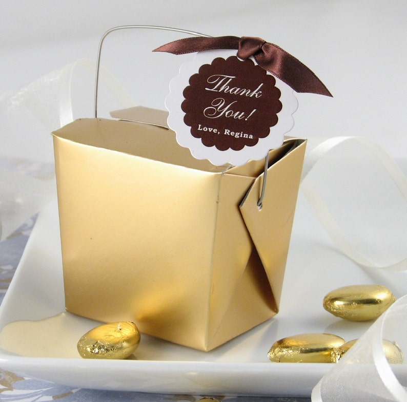 12 Gold Take Out Boxes Gold Favor Box Take Out Favor Boxes image 0