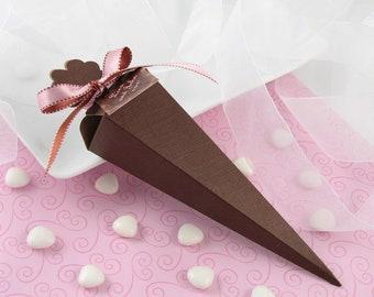 Brown Wedding Favor Box, 10 Chocolate Party Favor Box, Cone Shape Candy Favor Box, Fall Favor Box Packaging, Treat Box, Cone Favor Gift Box