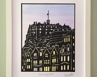 Framed paper cutting art, Mixed media Edinburgh Castle artwork, Art from Scotland, Moving away gift for friends, Anniversary present idea