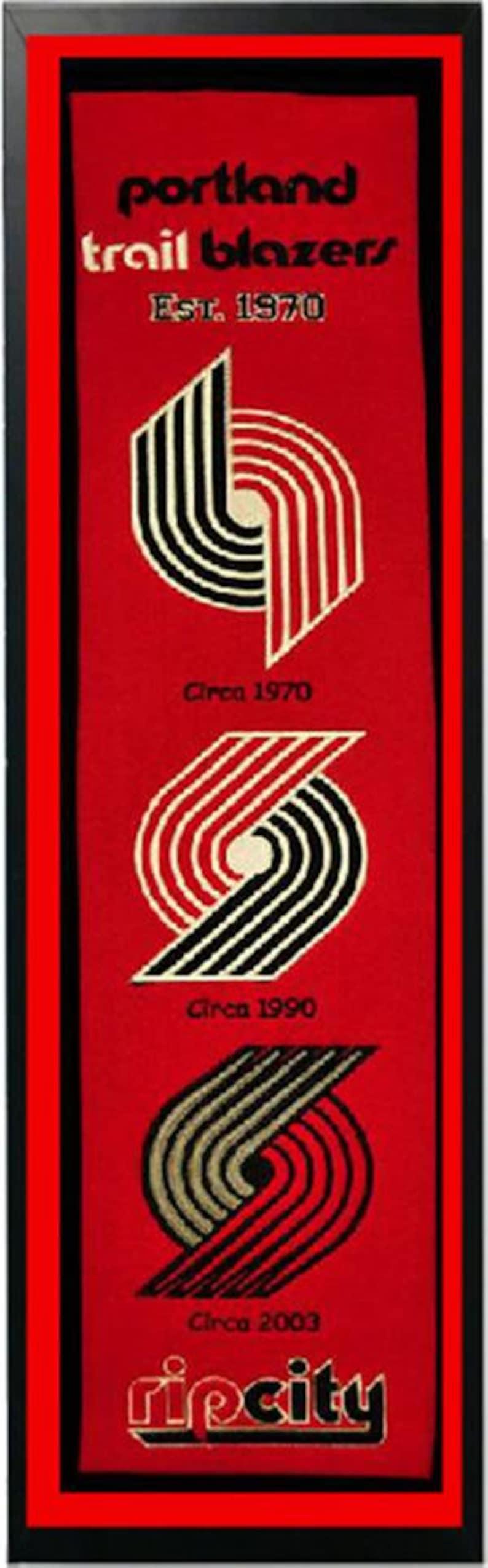 Portland Trail Blazers Logo History Felt Banner 14 x 37