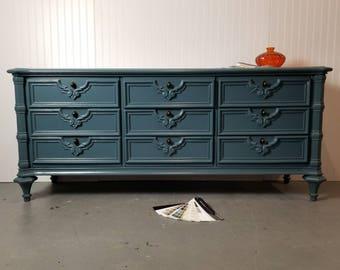 SOLD-Blue Low Dresser