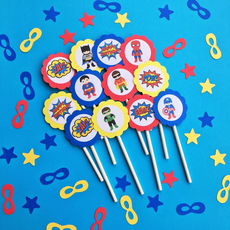 Superhero Cupcake Toppers Party Decorations
