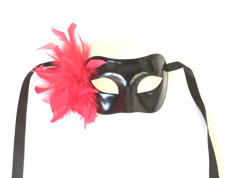 Red and Black Masquerade Colombina Feather Mask