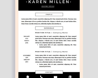 professional cv template cv template for word creative etsy