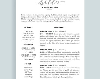 resume template for word modern resume cv one page resume etsy