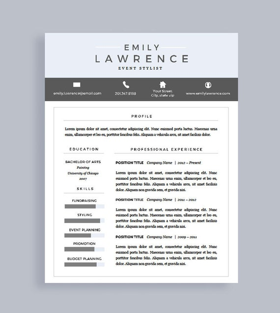 Modern Resume Template Free Cover Letter Resume For Word Etsy