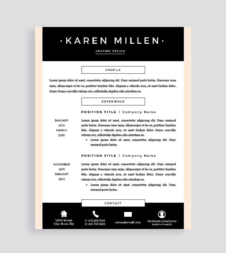 Creative Resume Template and Cover Letter for Word and Pages | Two Pages |  Instant Download | Professional Design | Modern | CV