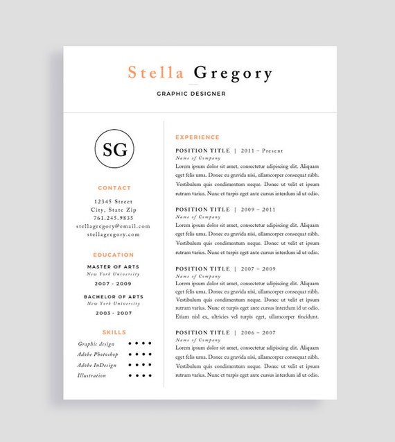 simple resume simple cv template free cover letter etsy