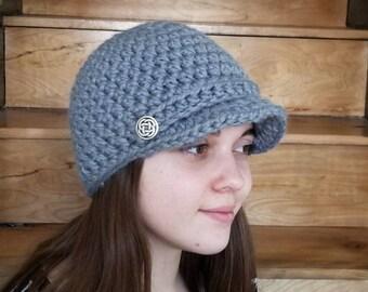 Newsboy Cap / Handmade / Hat with visor / hat with brim / warm winter hat / ready to ship / Wool / Acrylic / Slate / Blue-grey /Light grey