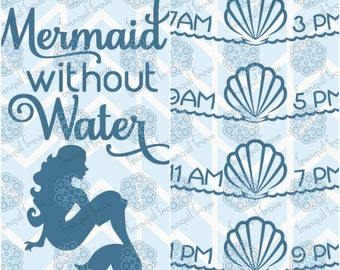 SVG & DXF design - Can't be a Mermaid without Water bottle Front and Back cut files for die cutting machines (Cricut and Silhouette)