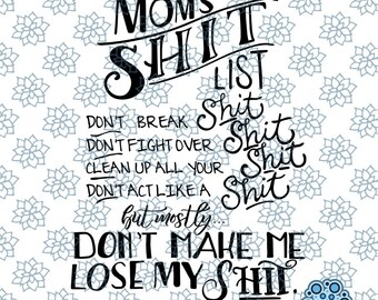 SVG & DXF design - Set of 2 - Mom's Shit List design cut files for die cutting machines (Cricut and Silhouette)