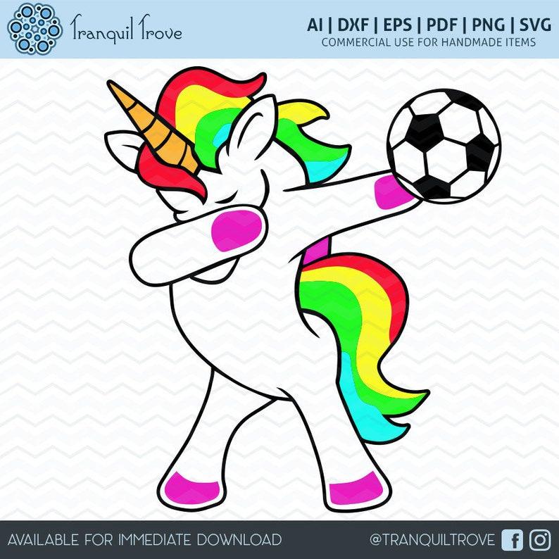 a981f055ea0 SVG   DXF design Set of 2 Dabbing Soccer Unicorn t-shirt