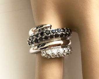 Sterling Silver Black & White cz Bypass Ring - Size 5.5