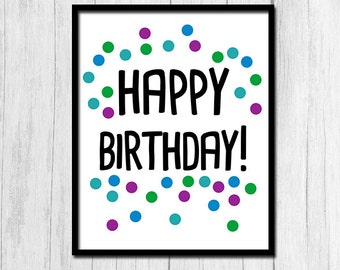 photograph about Happy Birthday Printable Sign titled Content birthday print Etsy