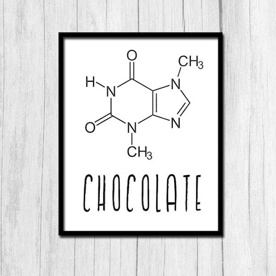 Schokolade Molekül Struktur Theobromin Chemie Lehrer Geschenk Organische Chemie Digital Download Chemie Plakat Schokolade Drucken