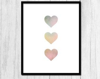 Heart Print Digital Download Love Print Heart Printable Love Printable Pink Hearts Instant Download Apartment Decor Dorm Decor Printables