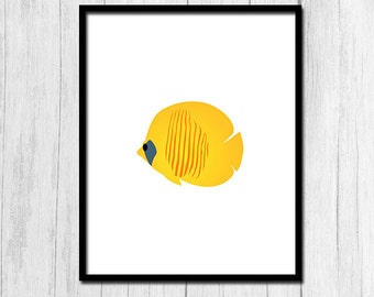 Tropical Fish Print Digital Download Beach Home Decor Tropical Print Tropical Poster Fish Poster Instant Download Beach House Printable