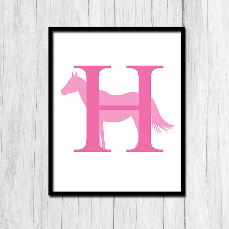 9440cd0c6545 Letter H Print Digital Download Horse Printable Monogram Art | Etsy