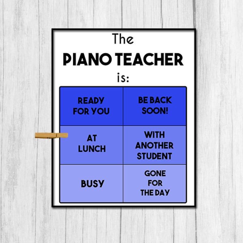 Piano Teacher Gift Digital Download Piano Teacher Door Sign Etsy