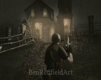 Leon kennedy etsy resident evil 4 digital art painting leon kennedy gamecube playstation wii pc video games gaming survival horror zombies ganados creepy aloadofball Choice Image