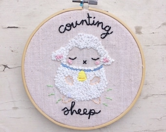 Counting Sheep   hand embroidered french knot nursery wall hoop art