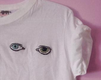 BOWIE EYES embroidered shirt / david bowie t shirt cotton / ziggy stardust tshirt / aladdin sane / hand embroidery art / bowie fan gift