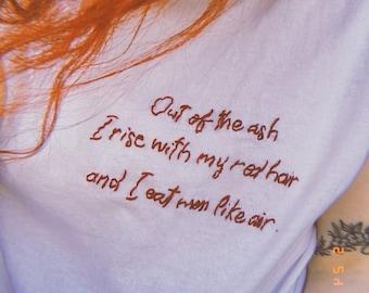 Sylvia Plath Lady Lazarus hand-embroidered shirt | Poet, Poem, Poetry, Writer, Literature