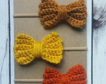 Candy Corn · Crochet Hair Bows Set of 3 // Baby Hair Bows // Toddler Hair Clips // Newborn Headband // Photo Props // Boho Hair Accessory