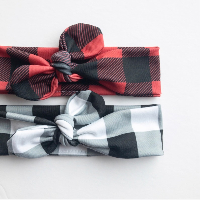a57c4f7d7628e Black and White or Red and Black Buffalo Plaid · Top Knot Headband /  Adjustable Headband / Head Wrap / Infant Headband / Top Knot / Baby St